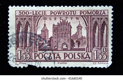 POLAND - CIRCA 1950s: A stamp printed in Poland is devoted to the five hundredth anniversary from the date of returning from Pomorze shows view of Olsztyn circa 1950s.