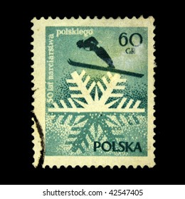 POLAND - CIRCA 1950s: A stamp printed in Poland shows ski jumping, circa 1950s