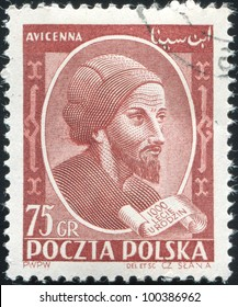 POLAND, CIRCA 1952 - stamp printed by Poland, shows Avicenna or Ibn Sina, Islamic pharmacist, Poland, circa 1952