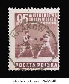 POLAND - CIRCA 1953: A stamp printed in Poland showing Box European Championship, circa 1953