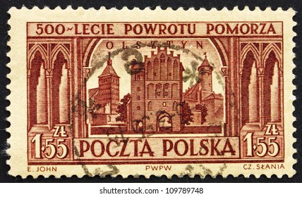 POLAND - CIRCA 1954: a stamp printed in the Poland shows View of Olsztyn, 500th Anniversary of Pomerania's Return to Poland, circa 1954