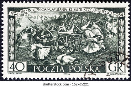 """POLAND - CIRCA 1954: A stamp printed in Poland from the """"160th anniversary of Kosciuszko's Insurrection"""" issue shows Insurgents Attacking Russians, circa 1954."""