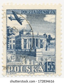 POLAND - CIRCA 1954: A stamp printed in Poland shows Laziersky Square, Warsaw, circa 1954