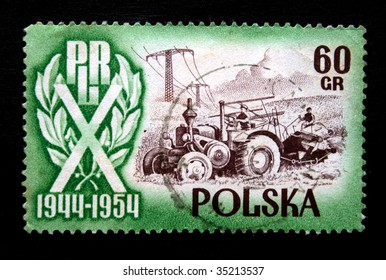 POLAND - CIRCA 1954: A stamp printed in Poland is devoted to 10 years of the People Republic Poland, shows agricultural industry, one stamp from a series circa 1954.