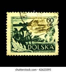 POLAND - CIRCA 1954: A stamp printed in Poland shows Battle of Studzianki, circa 1954