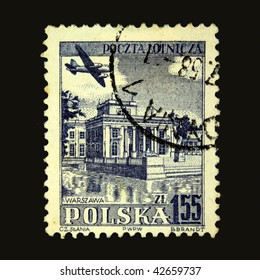 POLAND - CIRCA 1958: A stamp printed in Poland shows airplane above Warsaw, circa 1958