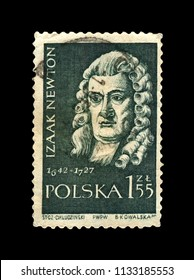 POLAND - CIRCA 1959: canceled stamp printed in Poland shows Isaak Newton (1642-1727), famous scientist, explorer, physicist, mathematician, mechanic, astronomer, circa 1959.