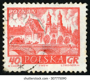 POLAND - CIRCA 1960: post stamp printed in Poland (Polska) shows view of Poznan; (cathedral, bridge over river, coach with 4 horses on it); historic towns; Scott 950 A353 40g red, circa 1960