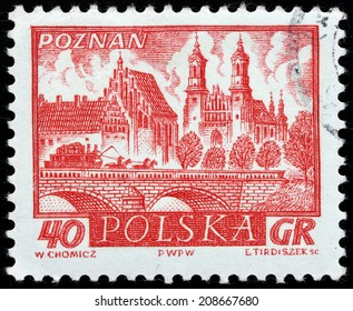 POLAND - CIRCA 1960: A stamp printed by POLAND shows view of  Poznan - a city on the Warta river in west-central Poland, the region called Wielkopolska (Greater Poland), circa 1960