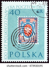 "POLAND - CIRCA 1960: A stamp printed in Poland from the ""100th Anniversary of Polish Stamps "" issue shows Polish 10k Stamp of 1860 and Postmark, circa 1960."