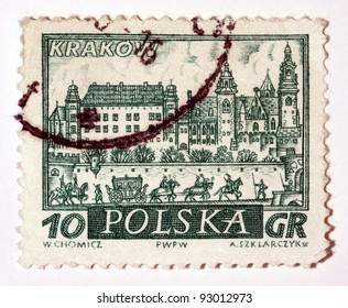 POLAND - CIRCA 1960: A stamp printed in Poland,    shows medieval town Krakow, Poland, circa 1960