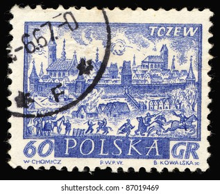 POLAND - CIRCA 1961: A stamp printed in Poland shows tczew, circa 1961