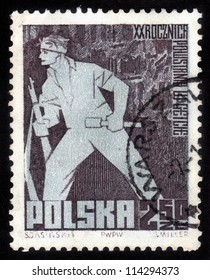 POLAND - CIRCA 1963: A stamp printed in the Poland, shows the Jewish resistance soldier, dedicated to celebrating 20th anniversary of Warsaw Ghetto Uprising, Poland, 1963