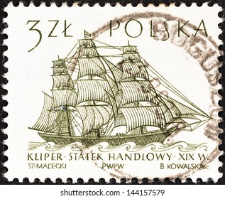 "POLAND - CIRCA 1964: A stamp printed in Poland from the ""Sailing Ships (2nd series)"" issue shows Flying Cloud (clipper, 19th century) , circa 1964."
