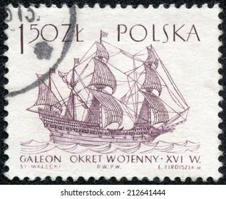 POLAND - CIRCA 1965: A post stamp printed in Poland shows sailing ship galeon,16th century, circa 1965
