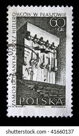 POLAND - CIRCA 1965: A stamp printed in Poland shows monument tortured by the Nazis in Plaszow, circa 1965