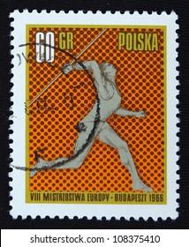 POLAND - CIRCA 1966: A stamp printed in Poland shows Javelin, circa 1966