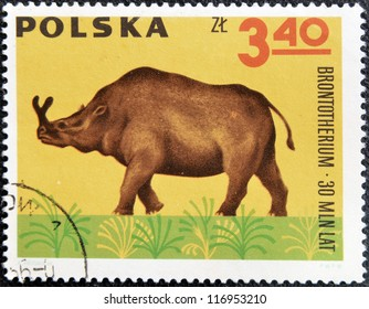 POLAND - CIRCA 1966: A stamp printed in Poland shows Archaeopteryx  from the series  Dinosaurs, Prehistoric Vertebrates, circa 1966