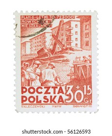 POLAND - CIRCA 1967: A stamp printed in Poland showing six years plan of new flats construction, circa 1967