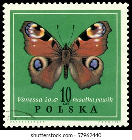 POLAND - CIRCA 1967: A stamp printed in Poland shows butterfly Vanessa, circa 1967.