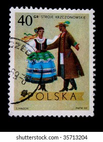 POLAND - CIRCA 1969: A stamp printed in Poland shows polish folk dancers from the Krzczonowskie region, one stamp from series, circa 1969.