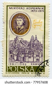 POLAND - CIRCA 1970: A stamp printed in Poland, shows portrait of the Polish astronomer Nicolaus Copernicus, circa 1970