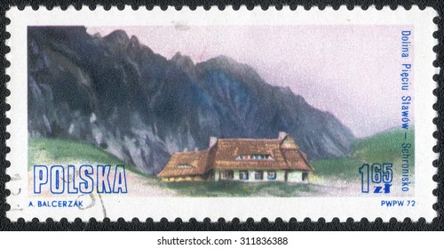 """POLAND - CIRCA 1972: A Stamp printed in Poland shows a series of images """"Historic Architecture of the mountain homes in Poland"""", circa 1972"""