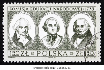 POLAND - CIRCA 1973: a stamp printed in the Poland shows J. Sniadecki, Hugo Kollataj and Julian Ursyn Niemcewicz, Bicentenary of National Education Commission, circa 1973