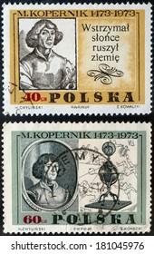 POLAND - CIRCA 1973: stamp printed in POLAND shows Nicolaus Copernicus a Renaissance astronomer. Postage stamp. circa 1973