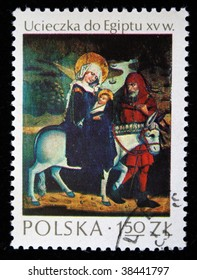 POLAND - CIRCA 1976: A stamp printed in Poland shows image Escape to Egypt,  one stamp from series, circa 1976