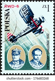 """POLAND - CIRCA 1978: A stamp printed in Poland from the """"Aviation History and 50th Anniversary of Polish Aero Club"""" issue shows Franciszek Zwirko and Stanislaw Wigura with RWD-6 aircraft, circa 1978."""