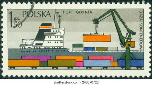 POLAND - CIRCA 1980s: A stamp printed in the Poland shows Sea port Gdynia - container terminal, circa 1980s