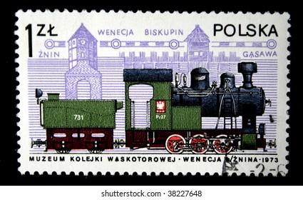 POLAND - CIRCA 1980s: A stamp printed in the Poland shows Streame locomotive, circa 1980s