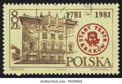 POLAND - CIRCA 1981: A stamp printed in POLAND   shows Old Krakow Theater,  circa 1981