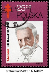 POLAND - CIRCA 1982: A Stamp printed in POLAND shows the portrait of Odo Bujwid (1857-1942), bacteriologist, devoted to the TB Bacillus Centenary, circa 1982