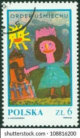 """POLAND - CIRCA 1983: Children's drawing """"Girl near house"""", circa 1983."""