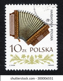 """POLAND - CIRCA 1985: A Stamp printed in Poland shows a series of images """"The history of musical instruments in Poland"""", circa 1985"""