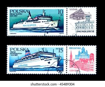 POLAND - CIRCA 1986: Obsolete canceled postage honoring ocean ferries, circa 1986, Poland