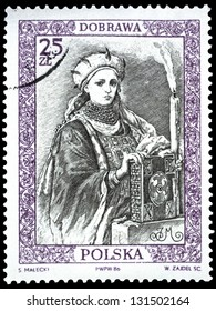 """POLAND - CIRCA 1986: A stamp printed in Poland shows engraving portrait of Dobrova, with the same inscription, from the series """"Polish Rulers"""", circa 1986"""