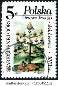 POLAND - CIRCA 1986: A stamp printed in Poland, shown the Jesse's Tree, circa 1986