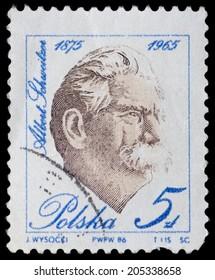 POLAND - CIRCA 1986: A stamp printed in Poland shows Albert Schweitzer, circa 1986