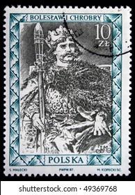 POLAND - CIRCA 1987: : A stamp printed in Poland shows King of Poland Boleslaw I Chrobry, circa 1987