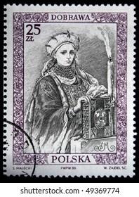 POLAND - CIRCA 1987: : A stamp printed in Poland shows Queen of Poland Dobrawa, circa 1987