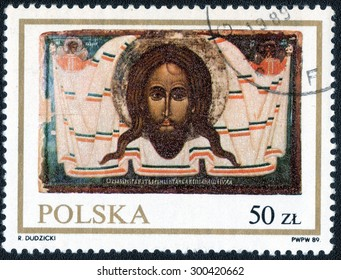 """POLAND - CIRCA 1989: A Stamp printed in Poland shows a series of images """"Ancient Christian saints"""", circa 1989"""