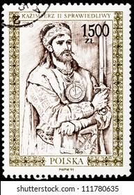 POLAND - CIRCA 1991:  A stamp printed in Poland shows Casimir II the Just a Polish leader, holding a sword.  Drawn by Jan Matejko, circa 1991.