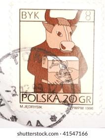 POLAND - CIRCA 1999: A stamp printed in Poland shows image of a creature, half man, half bull, series, circa 1999