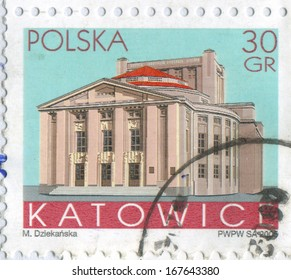 POLAND - CIRCA 2005: stamp printed by Poland, shows Buildings, Katowice, circa 2005