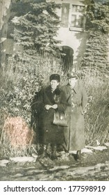POLAND, CIRCA FORTIES - vintage photo of happy couple outdoor