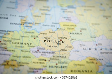 Poland in close up on the map. Focus on the name of country.