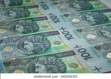 Poland currency background. Bank of Poland, one hundred zloty from top